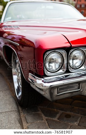 Front of vintage american car - stock photo