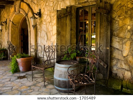 Front of winery estate - stock photo