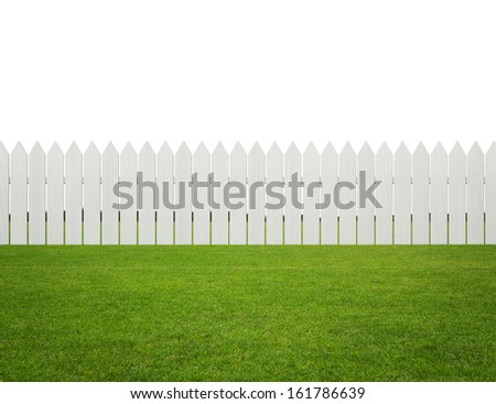 Front or back yard, white wooden fence on the grass isolated on white background with copy space - stock photo