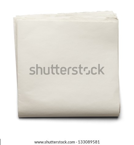 Front Page Newspapers with Copy Space Isolated on a White Background. - stock photo