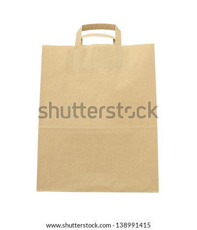 Front paper brown bag on white background.