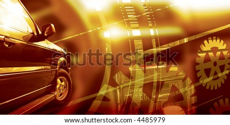 Front part of the car on the blurred background. - stock photo