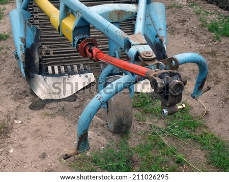Front part of two furrow potato digger      - stock photo