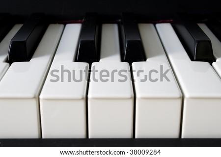 Front Piano detail with real ebony keys - stock photo