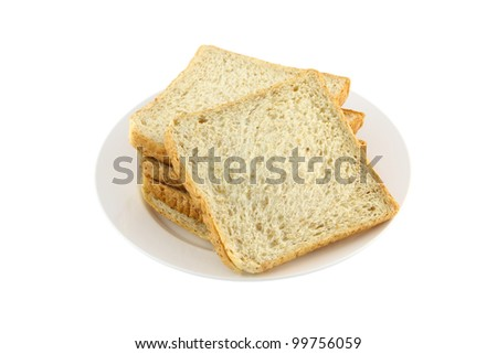 Front pile of wheat slice bread dish on white background.