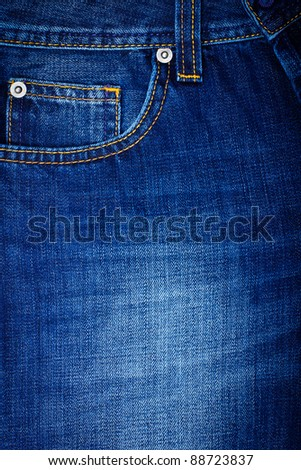 Front pocket of blue Jeans - stock photo