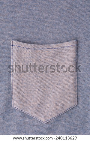 front pocket on blue t shirt - stock photo
