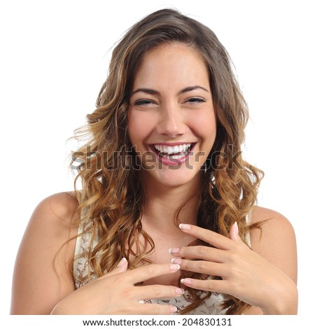 Front portrait of a funny fashion woman laughing hilarious and almost crying isolated on a white background - stock photo