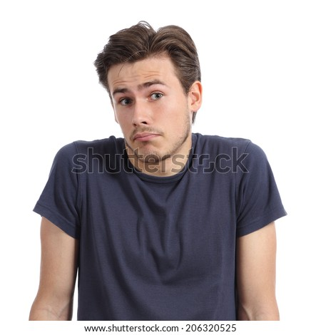 Front portrait of a young man doubting shrugging shoulders isolated on a white background - stock photo