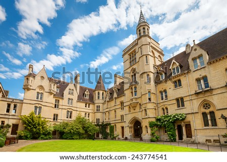 Front Quadrangle at Balliol College. Oxford, Oxfordshire, England, UK - stock photo