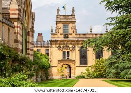 Front Quadrangle in Trinity College. Oxford University, Oxford,  England - stock photo