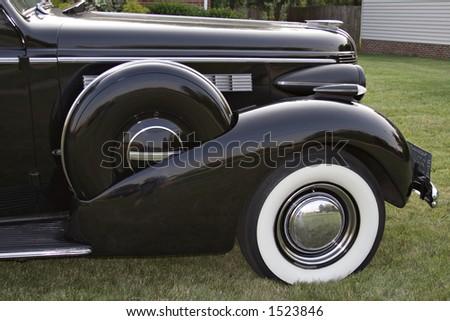 Front Quarter of Vintage Buick - emblems removed.  1930's?  Black - stock photo