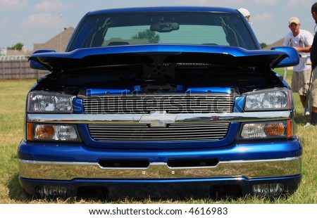 Front shot of a newer model Chevrolet truck - stock photo