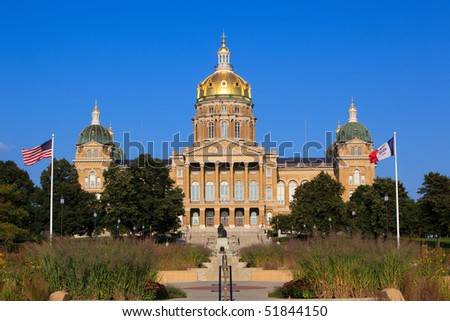 Front shot of Iowa Capitol in Des Moines. - stock photo