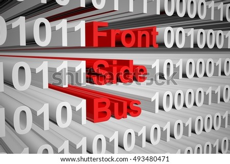 Front Side Bus in the form of binary code, 3D illustration