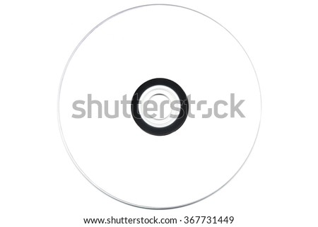 Front side of a Cd, DVD or Blu-ray is on an isolated white background.