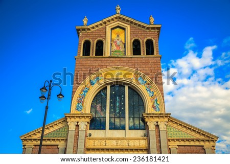 front side of a famous Sicily landmark - Black Madonna Church in Tindari - stock photo