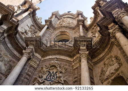 Front side of the cathedral in Valencia - stock photo