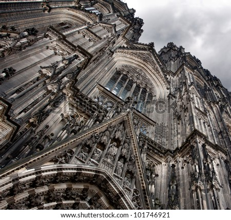 Front side of the Cologne Cathedral,Germany - stock photo