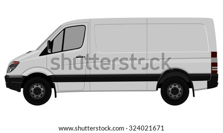 Front side of the light commercial vehicle on a white background