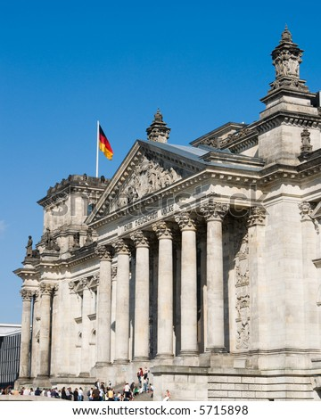 Front side of the Reichstag, the German parliament, in Berlin