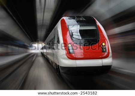 Front Side Train with Blur Effect - stock photo