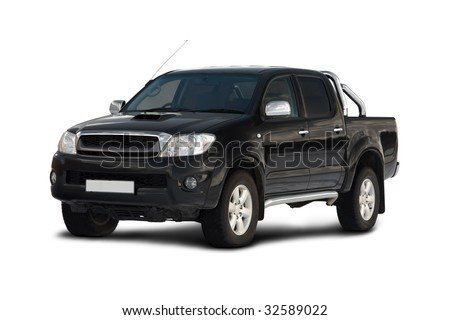 Front-side view of pick-up truck isolated on white background - stock photo