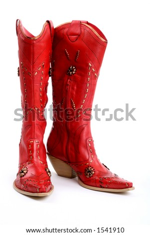 front/side view of red cowgirl boots - stock photo
