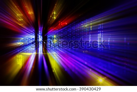 Front supercomputer communications equipment. state indication abstract - stock photo