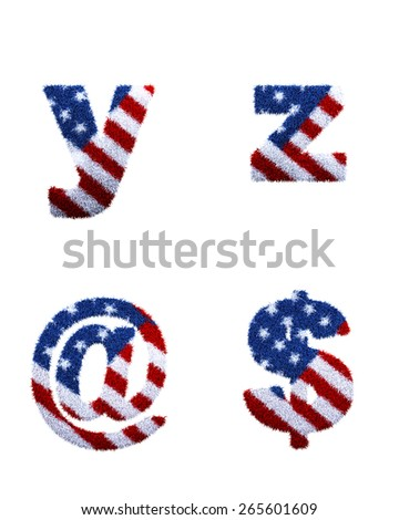 Front USA Flag with Fur