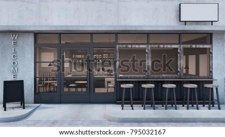 Front View Cafe Shop Restaurant Design Stock Illustration 795032167 ...
