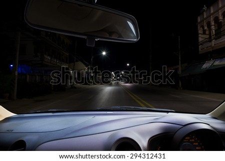 Front view car at night , use as a background or for product presentation related Images.
