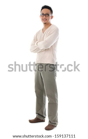 Front view full body Asian man in casual wear standing isolated on white background. Asian male model. - stock photo