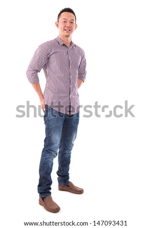 Front view full body confident Asian man standing isolated on white background. Asian male model. - stock photo