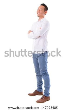 Front view full body happy Asian man looking at side standing isolated on white background. Asian male model. - stock photo