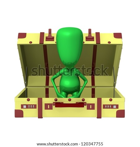 Front view green puppet sitting in opened suitcase - stock photo