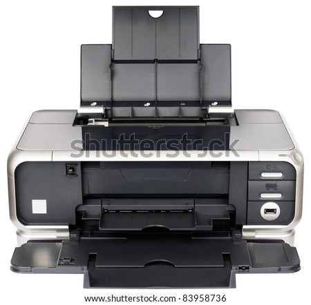 Front view ink-jet printer isolated on the white