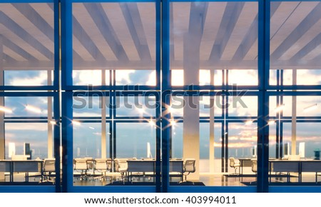 Front view meeting room modern skyscraper.Open space interior in evening time.Panoramic windows facade background, contemporary business center.Empty coworking room. Horizontal,flares. 3d rendering - stock photo