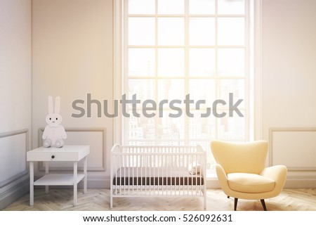 Front view of a baby's room interior with a cradle, an armchair and a bedside table. There is a large window with a cityscape. 3d rendering. Mock up. Toned image