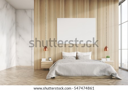 front view of a bedroom interior with a king size bed light wood and marble