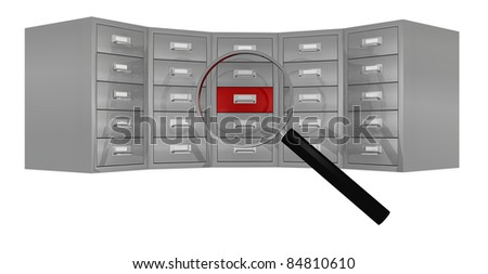 front view of a big file drawer with a magnifying glass that focus on a red drawer (3d render)