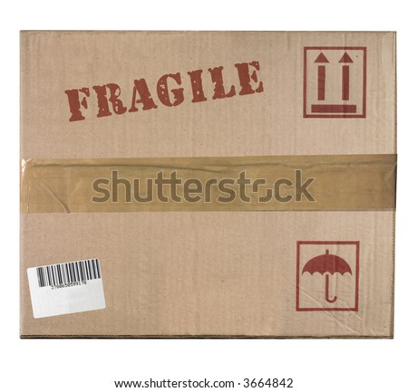 Front view of a cardboard box - stock photo