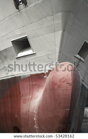 front view of a cargo ship and a bulb nose