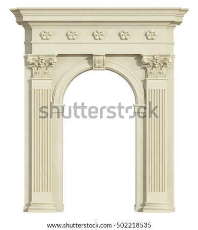 Front view of a classic arch with Corinthian column isolated on white - 3d Rendering