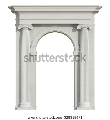 Front view of a classic arch with ionic column isolated on white - 3D Rendering - stock photo
