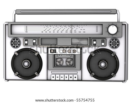 Front view of a 3D boombox. - stock photo