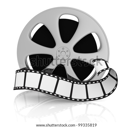 front view of a film reel with a film strip in front of it (3d render) - stock photo