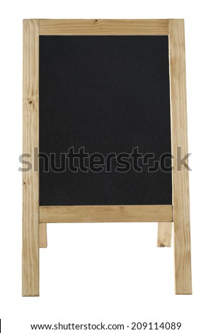 Front view of a freestanding A-frame blackboard, left blank to provide copy space and isolated against a white background. - stock photo