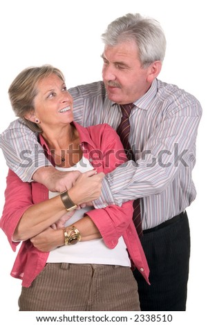 Front view of a happy middleaged couple - stock photo