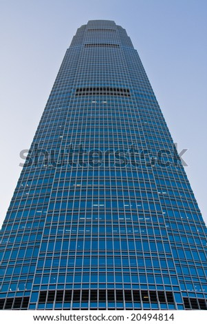 front view of a huge skyscraper. - stock photo